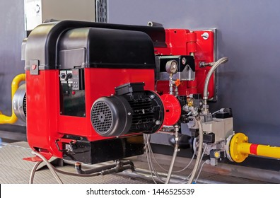 Gas equipment at the modern boiler room. Gas burner with modulating control for the combustion of gas or diesel fuel in water boilers and steam boilers.