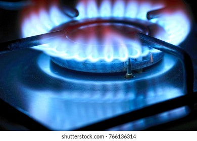 Gas fire of a stove in a dark