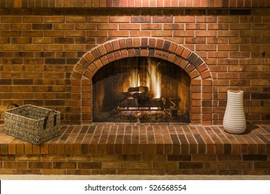 Gas Fireplace with Brick Surround