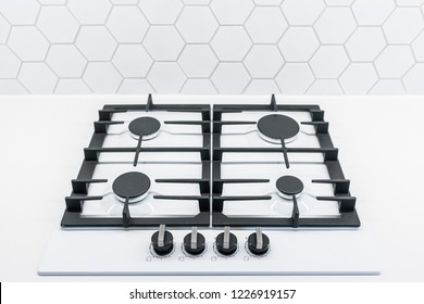 gas flame cooker hob top in classic white