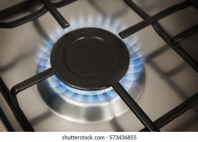 Gas flame from kitchen stove closeup