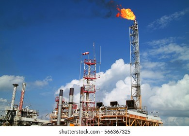 Gas or flare burn on offshore platform of oil and gas industry