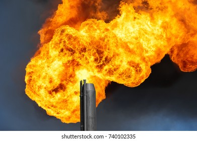 Gas flaring. Burning of associated gas at oil production.
