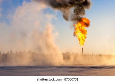 Gas flaring. Evaporation of snow.