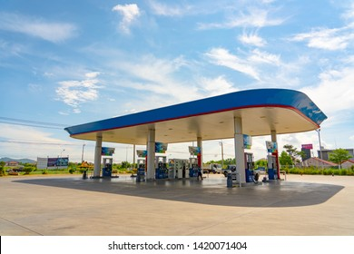 Gas fuel station with clouds and blue sky , Songkhla , Thailand on 19 may 2019