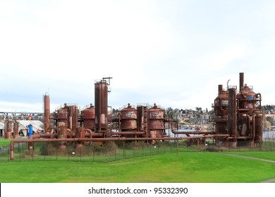 Gas industrial machineries at Gas works public park, Seattle, Washington