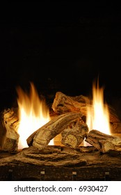 Gas logs fireplace