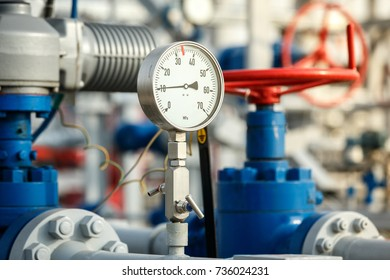 Gas manometer on a gas development plant. Industrial gas development details
