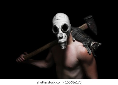 Gas Mask character with hammer and cat