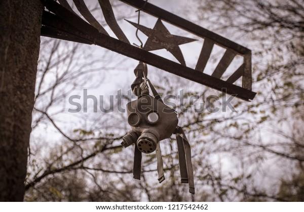 Máscara de gas del liquidador del desastre en la central nuclear de Chernobyl