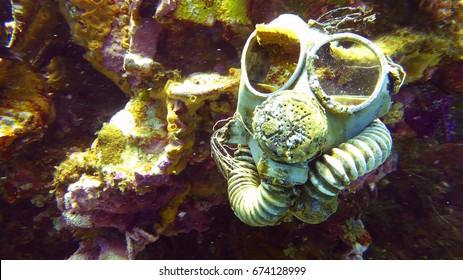 Gas mask on ship sunk during Operation Hailstone in Chuuk Lagoon, Micronesia