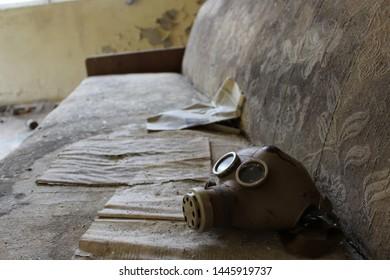 Gas mask in school in deserted Masheve settlement, Chernobyl Exclusion Zone, Ukraine
