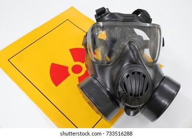 A gas mask that blocks radioactive material