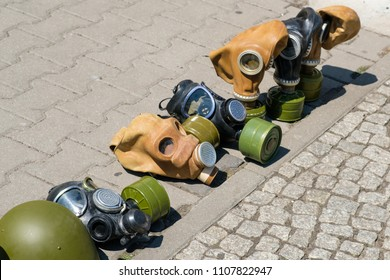 Gas masks of second world war displayed on street for tourists as souvenir
