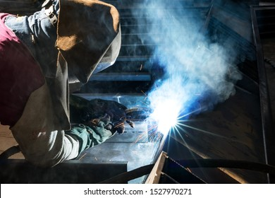 Gas metal arc welding (GMAW, MAG, MIG). MIG welding is a metal shielding gas welding process (GMAW) with inert gas, in which the light arc burns between a continuously fed melting wire electrode.