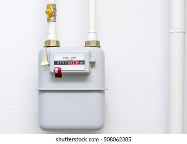 A gas meter in the private house, counter for distribution domestic gas.