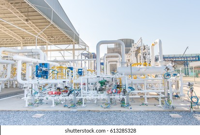 Gas metering station and pipeline at power plant