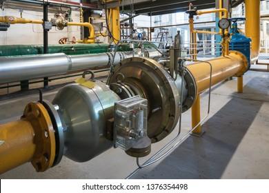 Gas meters in boiler room