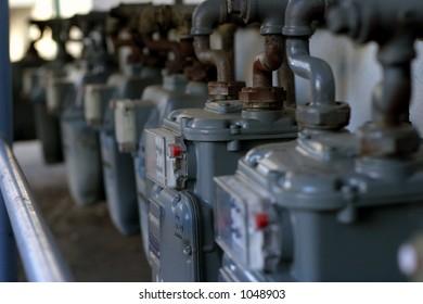 Gas meters in a row