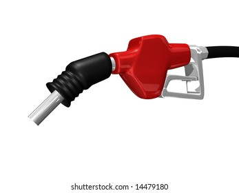 Gas nozzle pointing down on white background 3D