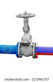 Gas and oil pipeline from Russia to European Union concept, isolated pipeline with valve.