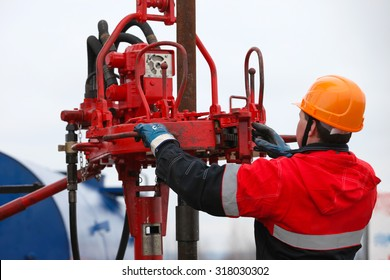 Gas oil production operator works and maintains well site or compressor station