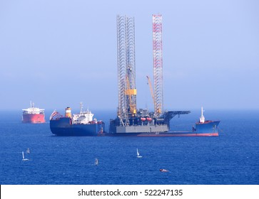 Gas and oil rig in Cyprus. Offshore exploration platform.