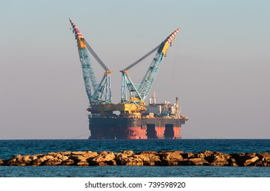 Gas and oil rig in Cyprus. Offshore exploration platform near coast