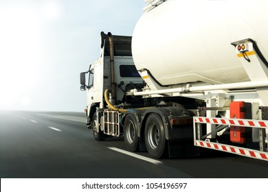 Gas or oil Truck on highway road container, transportation concept.,import,export logistic industrial Transporting Land transport on the asphalt expressway