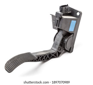Gas pedal on a white isolated background in a photo studio for sale in a car service. Black auto part for replacement during repair in the workshop. Spare part junkyard.
