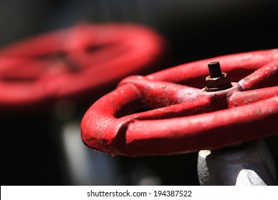 Gas pipe with two red valve