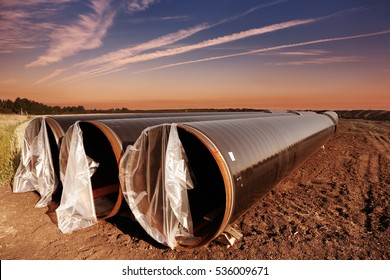 Gas pipeline construction in Western Siberia, Russia
