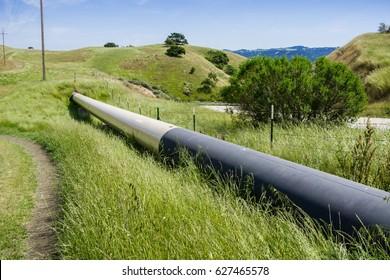 Gas pipeline crossing the hills, south San Francisco bay, San Jose, California