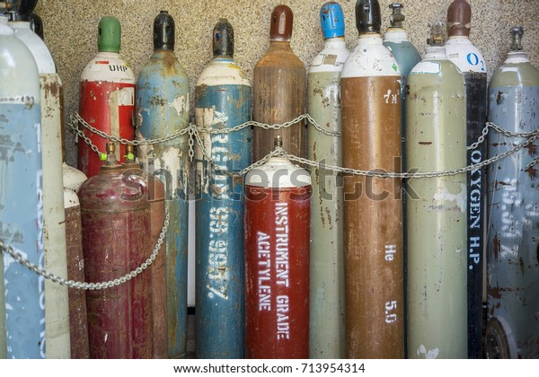 Gas Pipes Nitrogen Oxygen Acetylene Argon Stock Photo (Edit