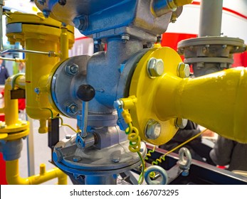 Gas pipes. Safety shut-off valve. gas pressure regulator. Pipe connection. Gas control point. Gearbox. Boiler room. Heating system. Piping Systems. Industrial equipment. Transportation.