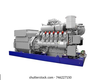 Gas piston diesel electric generator isolated on white background