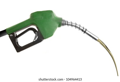 Gas poured from green pump isolated on white