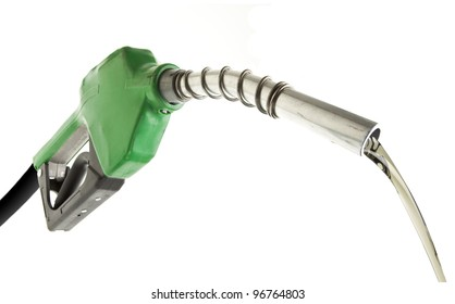 Gas pouring with green pump isolated on white