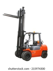 Gas powered forklift truck isolated on white