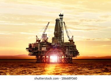 gas production on the sea at sunrise, platform