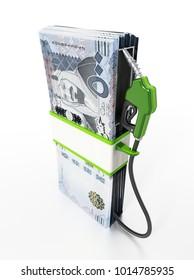 Gas pump attached to Saudi Arabia riyal bills. 3D illustration.