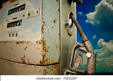 Gas pump with blue sky background