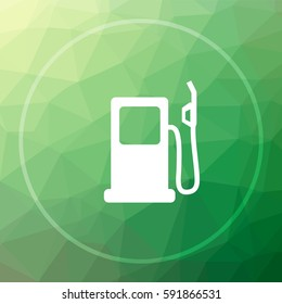 Gas pump icon. Gas pump website button on green low poly background.