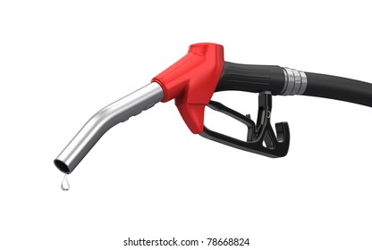 Gas pump nozzle isolated on white