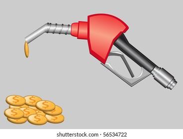 gas pump nozzle and money  illustration