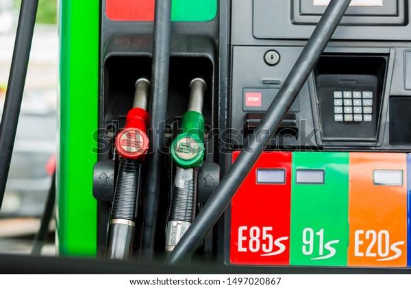E85 Gas Stations >> Gas Pump Nozzles Service Station Close Stock Photo Edit Now