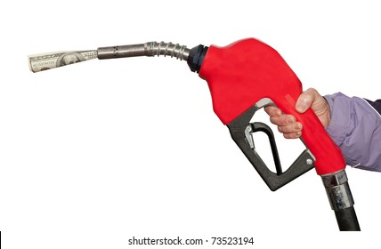 Gas Pump With A One Hundred  Dollar Bill On White Background