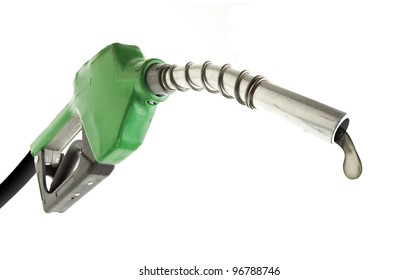 Gas pump with one last drop on white