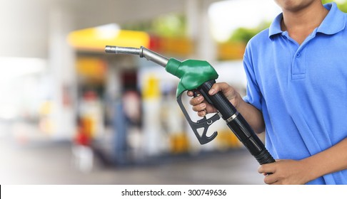 Gas pump for refueling car on gas station