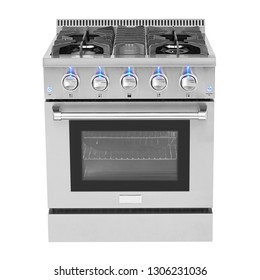 Gas Range with Convection Isolated on White. Stainless Steel Kitchen Stove. Freestanding Range Cooker with Warming Drawer and 5 Five Burner CooktopModern Kitchen and Domestic Appliances